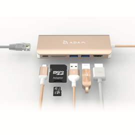Adam Elements Adam Elements CASA Hub A01 6-in-1 USB-C Hub - Ethernet, 3 USB Ports, HDMI, SD Card Reader - Gold