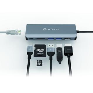 Adam Elements Adam Elements CASA Hub A01 6-in-1 USB-C Hub - Ethernet, 3 USB Ports, HDMI, SD Card Reader/USB-C 100w- Gray
