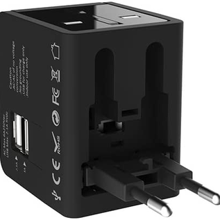 Kanex Kanex 4-in-1 Travel Power Adapter with 2 USB ports - Black