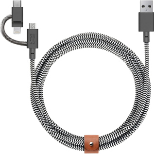 Native Union Native Union Braided Universal 3-in 1 Micro USB, Lightning, USB-C  Belt Cable, 2m (6.6ft) - Zebra