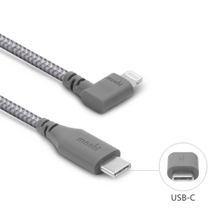 Moshi Moshi Integra USB-C to Lightning Cable with  90 degree Connecter 5ft (1.5m) Titanium Gray