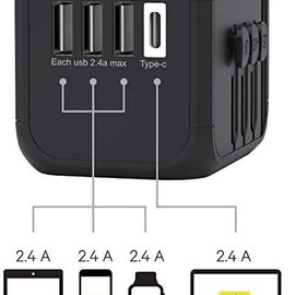 Kanex Kanex International travel Power Adapter with 3 USB/1 USB-C ports - Black