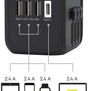Kanex Kanex International travel Power Adapter with 3 USB/1 USB-C ports - Black