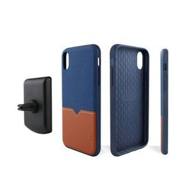 Evutec Evutec Northill Series Leather Case w/ Car Vent Mount for iPhone X Max Blue/Sandle Brown (While Supplies Last)