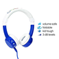 BuddyPhones BuddyPhones Connect Volume Limiting  Kids Wired On Ear Headphones w/Mic Blue
