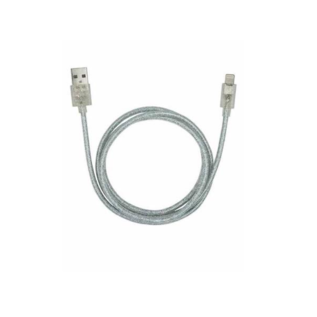 Candywirez Candywirez USB to Lightning Braided Cable 3ft and Wall Charger Bundle - Clear Sparkle