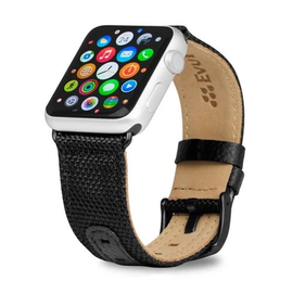 Evutec Evutec Northill Series Leather Watch Band for Apple Watch 38mm/40mm Black/Black
