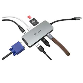 Adam Elements Adam Elements CASA Hub A08 8-in-1 USB-C Hub - VGA/HDMI/SD Card Reader/3 USB Ports - Space Gray