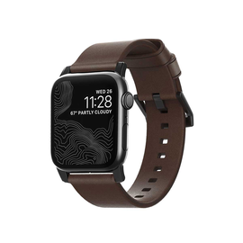 NOMAD NOMAD Modern Leather Strap for Apple Watch 42/44 mm - Black Hardware/Rustic Brown Leather