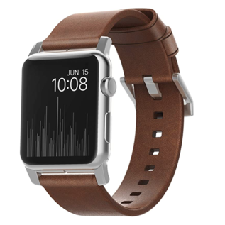 NOMAD NOMAD Modern Leather Strap for Apple Watch 42/44 mm - Silver Hardware/Rustic Brown Leather