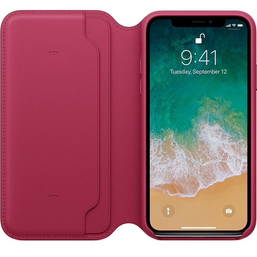 finest selection 700e5 e6c56 Apple Apple Leather Folio Case for iPhone X - Berry