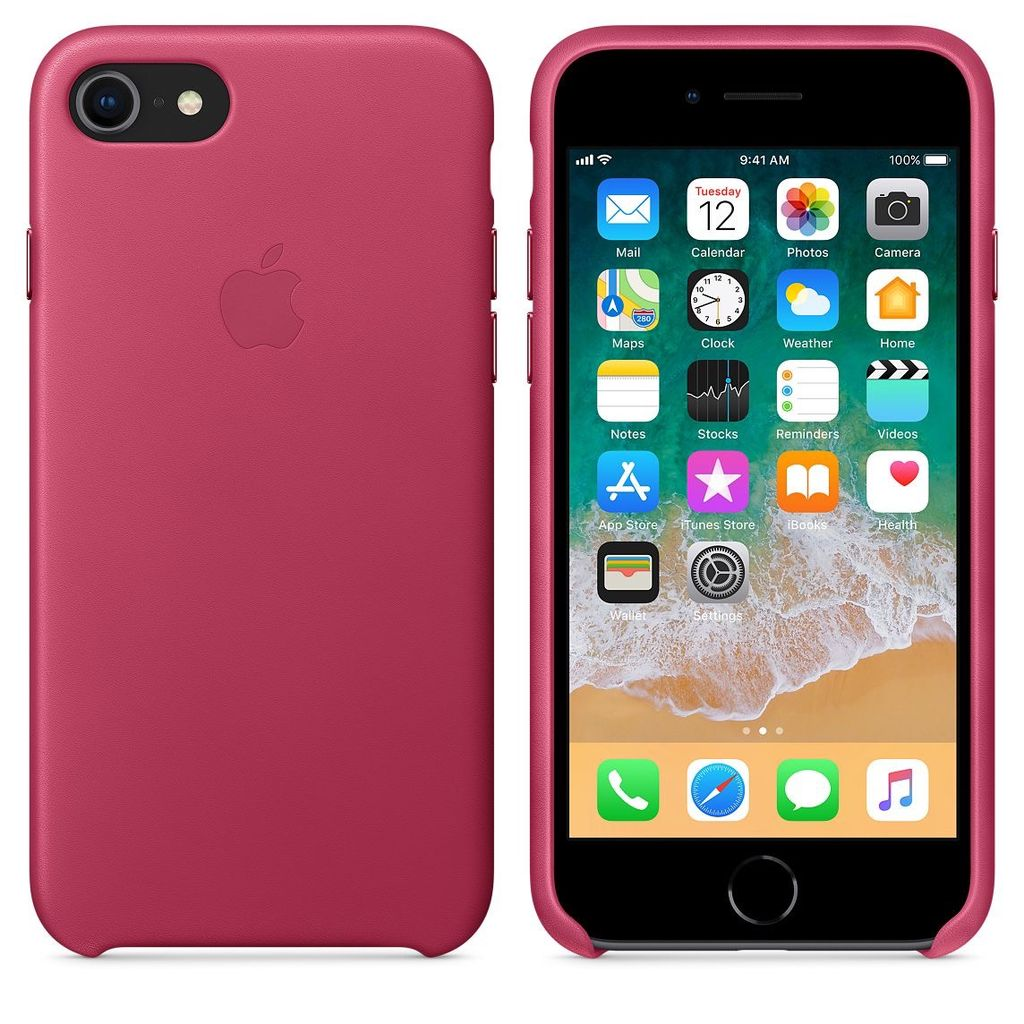 huge discount 236d4 45a56 Apple Apple Leather Case for iPhone 8/7 Plus - Pink Fushia (ATO), Apple  Leather Case for iPhone 8/7 - Dark Aubergine