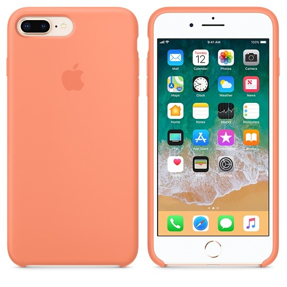 hot sale online 48624 f93a2 Apple Apple Silicone Case for iPhone 8/7 Plus - Peach