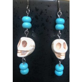 Route 66 Biker Gear Earring Mr Bones Turquoise