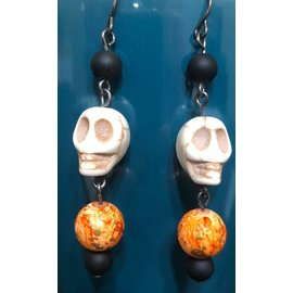 Route 66 Biker Gear Earring Titanium Mr Bones Orange Drop