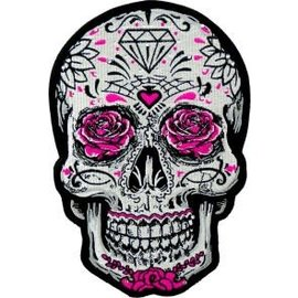 Patch Stop Patch Whte Sugar Skull Pink Rose 6.25in