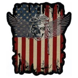 Patch Stop Patch Dist American Flag w/ Skull 4in