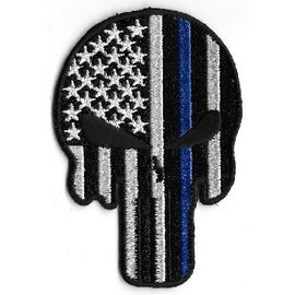 Jerwolf Enterprises Patch Skull Am Flag Blue Stripe 3in