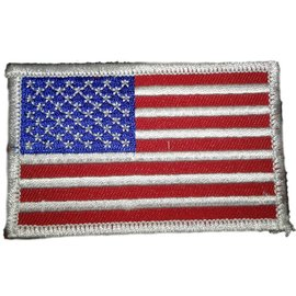 Ozark Biker Shop Patch US Flag Wht Trim 3in