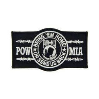 Eagle Emblems Patch POW Bring Em Home Black 4 in