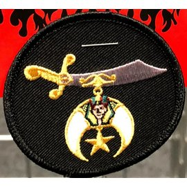 Ozark Biker Shop Patch Shriner Black Circle 2in