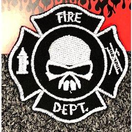 Route 66 Biker Gear Patch Fire Logo Black Skull 3 in