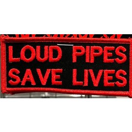 Route 66 Biker Gear Patch Loud Pipes Save Lives 4 in