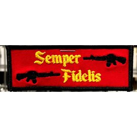 Route 66 Biker Gear Patch Semper FI Red/Blk 4in