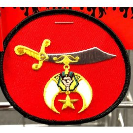 Ozark Biker Shop Patch Shriner Red Circle 4in
