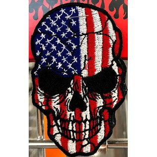 Route 66 Biker Gear Patch American Skull Colored 3in