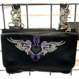 Bucati Leather Clip Pouch Tribal Heart Purple