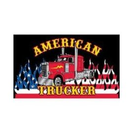 Eagle Emblems Flag American Trucker 3 x 5 ft