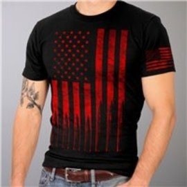 Hot Leather Shirt American Flag Bullets