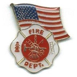 Biker's Stuff Pin Fire US Flag
