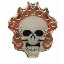Biker's Stuff Pin Flaming Skull