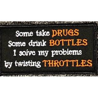 Route 66 Biker Gear Patch Drugs Bottles Throttles 4in