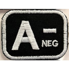 Route 66 Biker Gear Patch Blood Type A Neg 2in