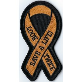 Jerwolf Enterprises Patch Look Twice Awarness Ribbon 3in
