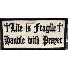 Hot Leather Patch Life Is Fragile 4in White