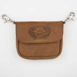 Mascorro Leather Clip Pouch Brown Skull Wings
