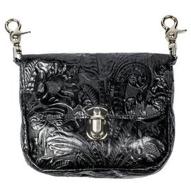 Mascorro Leather Clip Pouch Black Floral