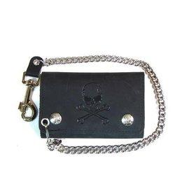 Mascorro Leather Wallet Tri-fold Skull