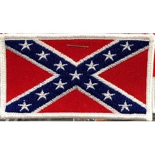 Route 66 Biker Gear Patch Confederate Flag Wht Trim 3 in