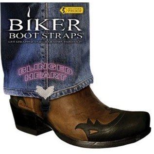 Biker Boot Straps Biker Boot Strap Bling Heart 4in