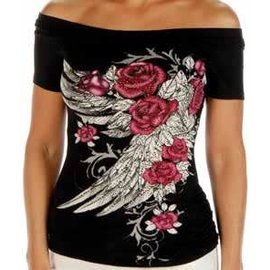 Liberty Wear Shirt Blossomed Elegance Cold Shoulder