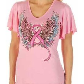 Liberty Wear Shirt SS Pink Ribbon Wings