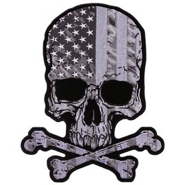 Hot Leather Patch Skull and Crossbones Flag 8in