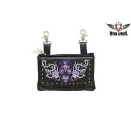 Dream Apparel Clip Pouch Sugar Skull Purple