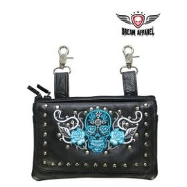 Dream Apparel Clip Pouch Sugar Skull Teal