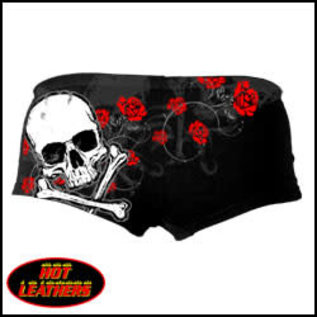 Hot Leather Boy Shorts Red Foil Roses